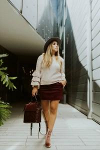 blush bell sleeve sweater