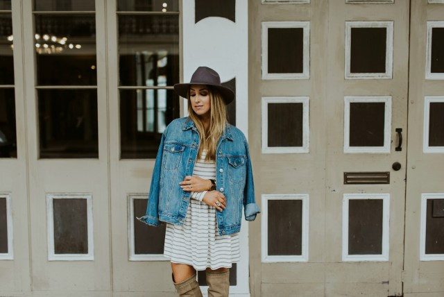 Grey stripe long sleeve dress