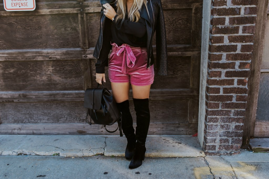 pink velvet shorts 1