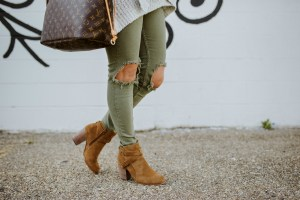 Distressed Olive Jeans for Women