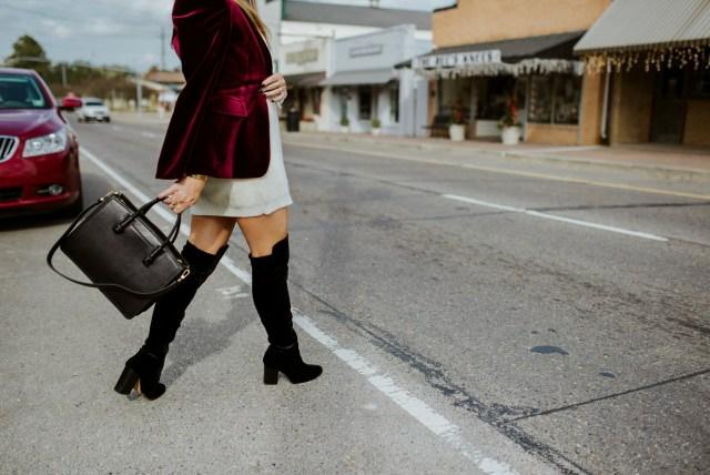 Black Over the Knee Velvet Boots