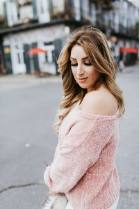 pink off the shoulder sweater ladies