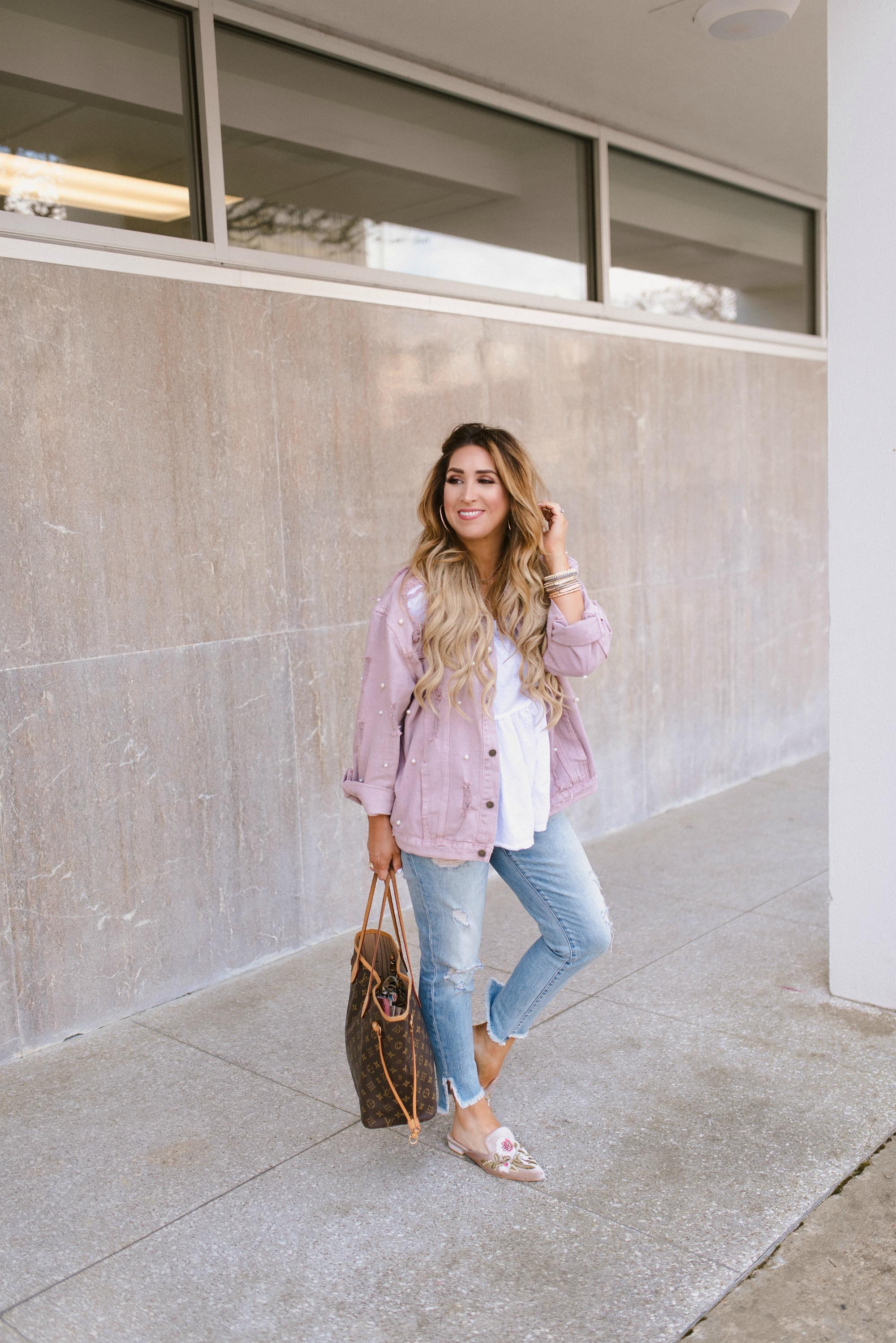 pink denim jacket womens