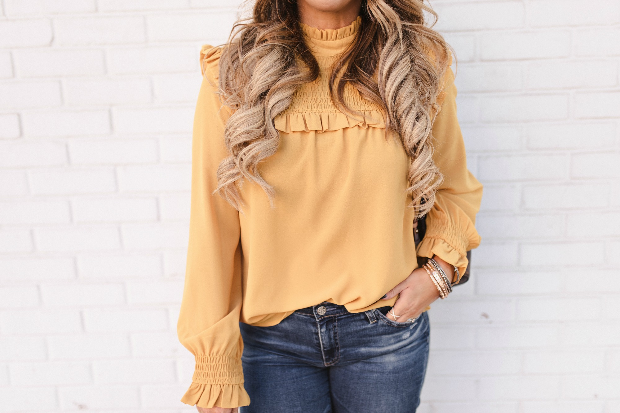 mustard long sleeve ruffle blouse