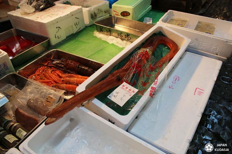 Poisson étrange au marché de Tsukiji, sur l'étal d'un marchand.