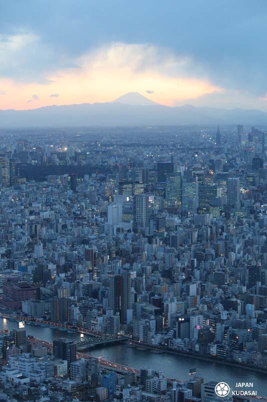 La vue entièrement dégagée sur le Grand Tokyo est juste impressionnante ! On surplombe toute la région, de Yokohama jusqu'au mont Fuji qui était par chance bien visible ce jour-là. En voyant le volcan dominer ainsi la ville, étonnamment seul à l'horizon et à la symétrie parfaite, on comprend d'emblée pourquoi les Japonais le vénèrent à ce point.
