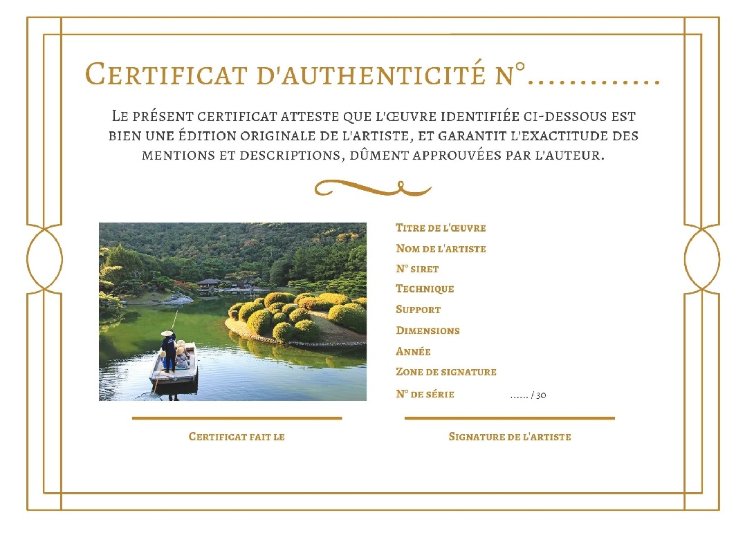 Certificat authenticité photos du Japon