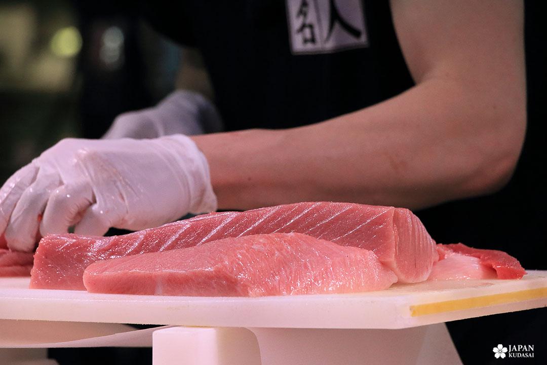 morceau découpé de thon rouge bluefin