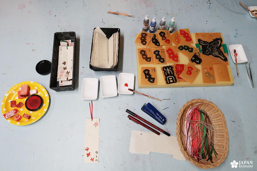 atelier tampon marque page japonais