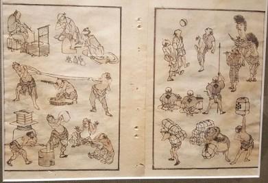 livret manga par hokusai durant l'ère edo, carnet de croquis, japon