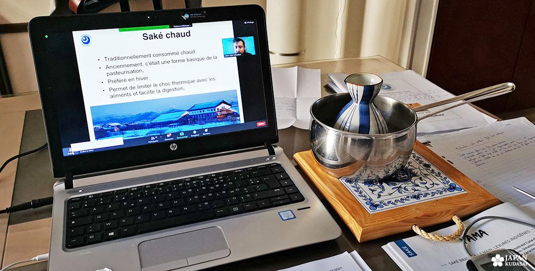 formation en ligne ZOOM osake avec sake chaud