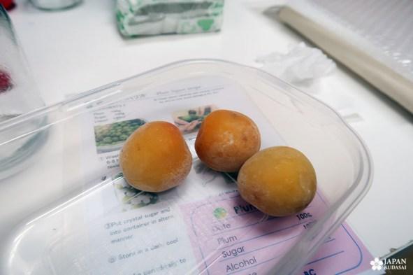 prunes congelées avant préparation de l'umeshu