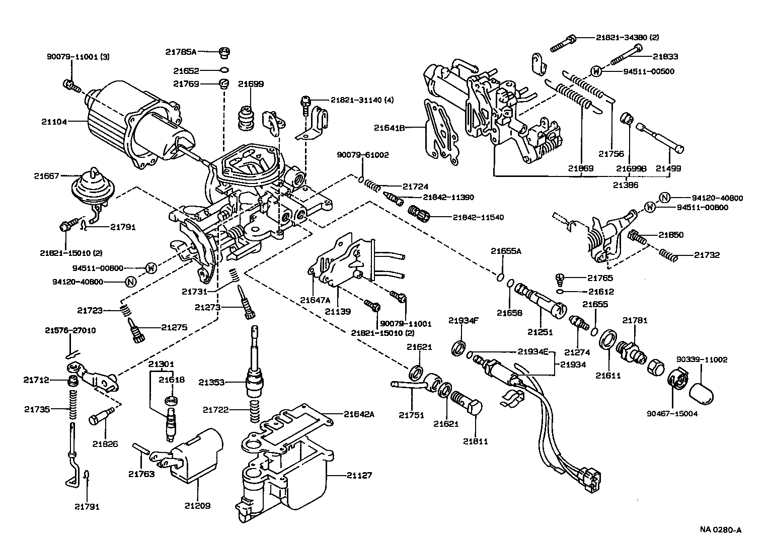 toyota engine parts list