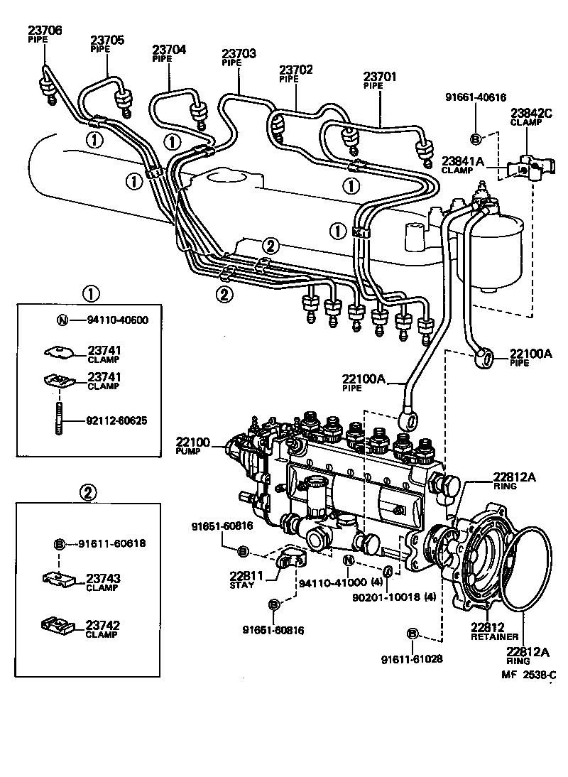 Toyota landcruiser fuel pump parts breakdown