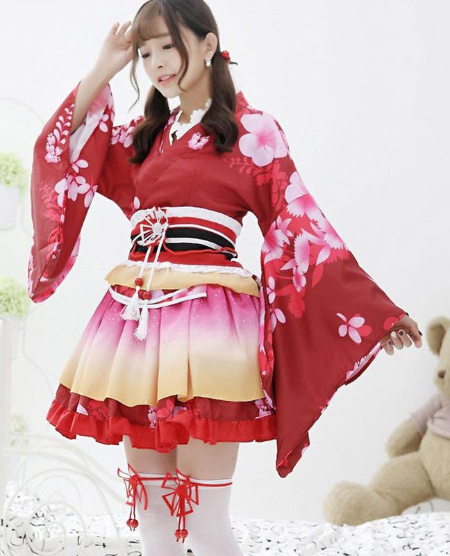 red sakura yukata kimono