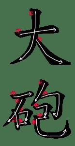 Stroke Order for 大砲