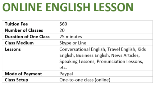 Online English Lesson Ad