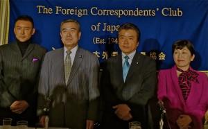 from left to right: Taro Yamamoto Independent lawmaker, Ryo Shuhama, People's Life Party, Sohei Nihi, Coomunist Party, Mizuho Fukushima, Social Democratic Party