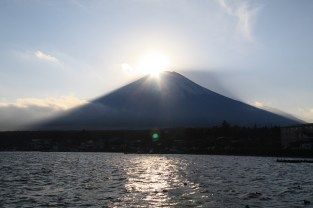 "Sun setting onto Mt Fuji summit, producing a ""Diamond"" effect"