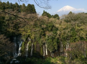 Shiraito fall with Mt Fuji