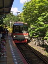 Eizan train arriving at Kibune-guchi