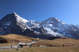 Eiger-Monch with approaching Jungfraubahn