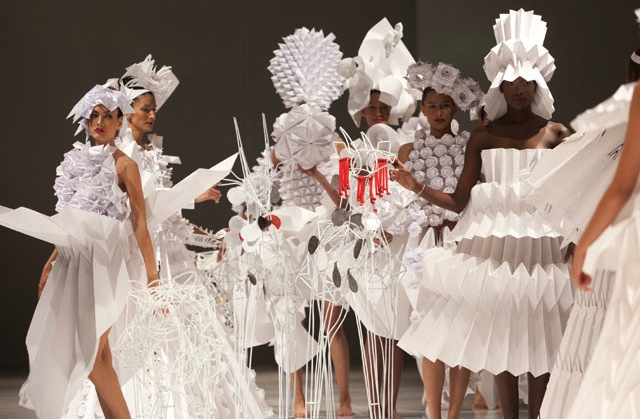 Colombian embassy in Japan holds origami fashion show at