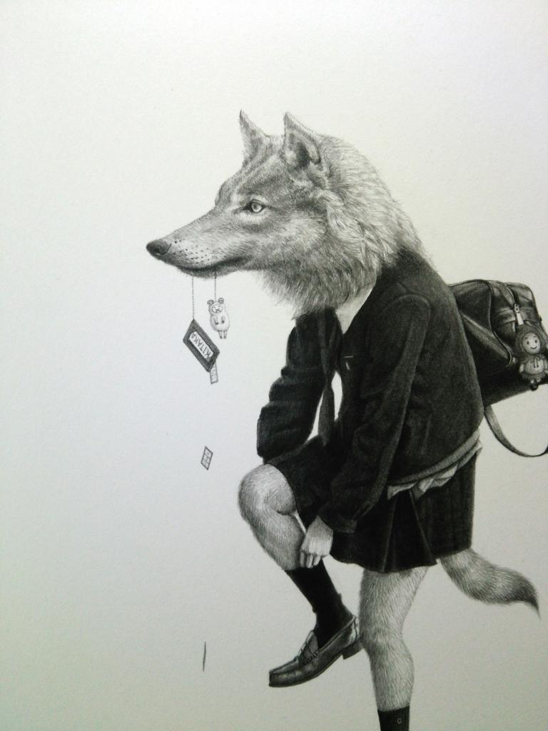 takumi kama schoolgirl animals exhibition kyoto uniform school japanese anthropomorphic art