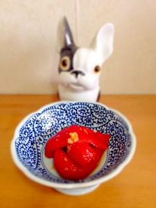 yakihitashi de poivrons au gingembre
