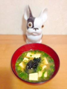 soupe miso au tofu et au wakame