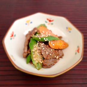 Itame de gombos au bœuf オクラと牛肉のピリ辛味噌炒め