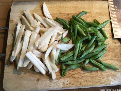 itame de topinambours et haricots verts
