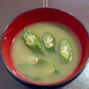 Soupe miso d'okra オクラ入りお味噌汁