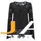 Womens Lace Shoulder Long Sleeve Blouse T Shirt Casual Lace Tops