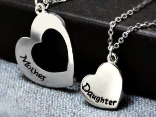 Mother and Daughter Silver Necklace
