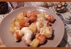 وجبة عشاء سهلة بالبطاطس والنقانق