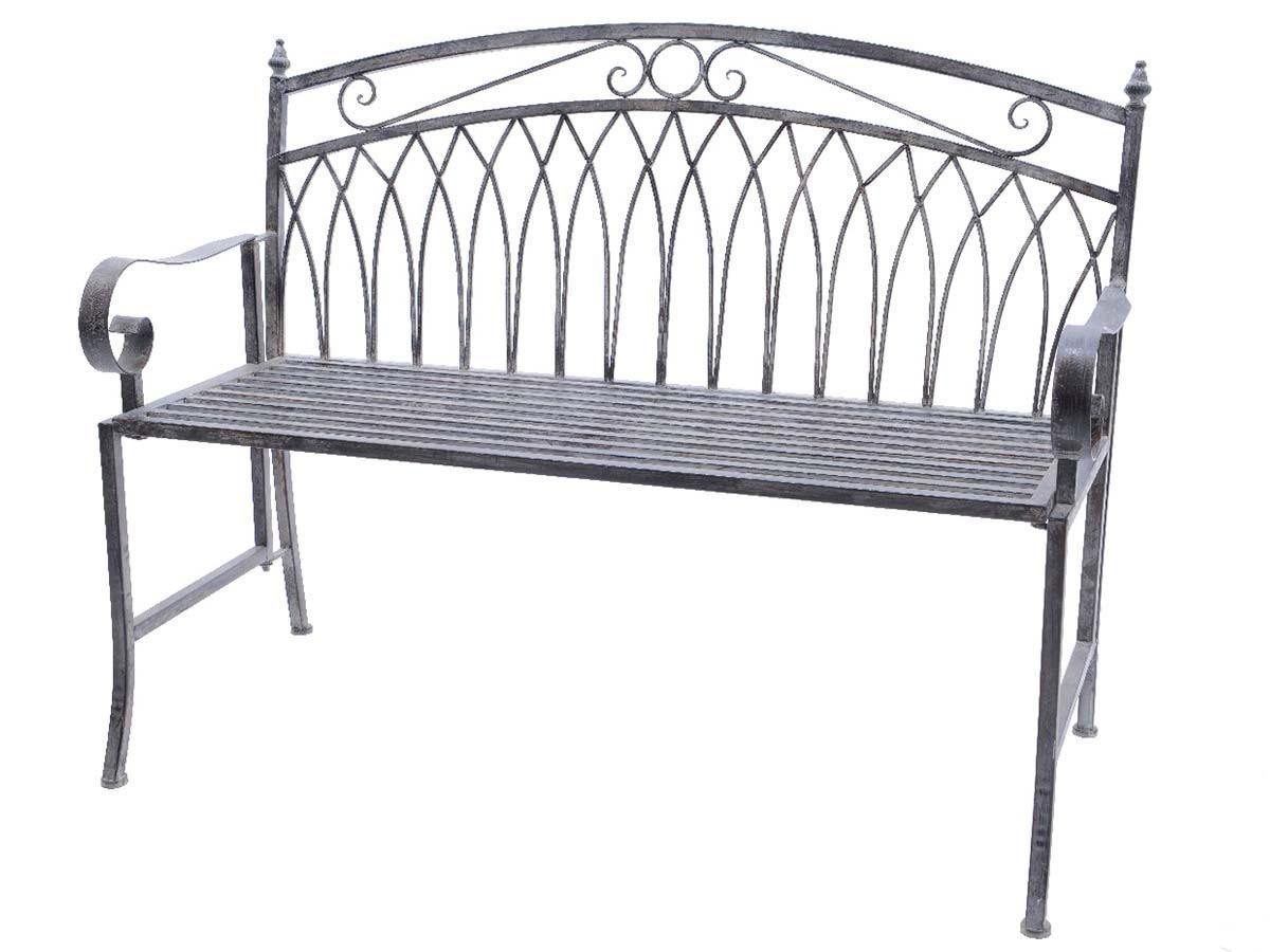 banc de jardin en metal gris
