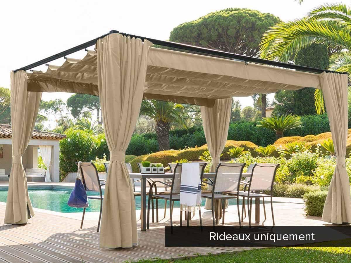 Jeu de 4 rideaux pour tonnelle Hesperide modle Palmeira 3 x 3 m