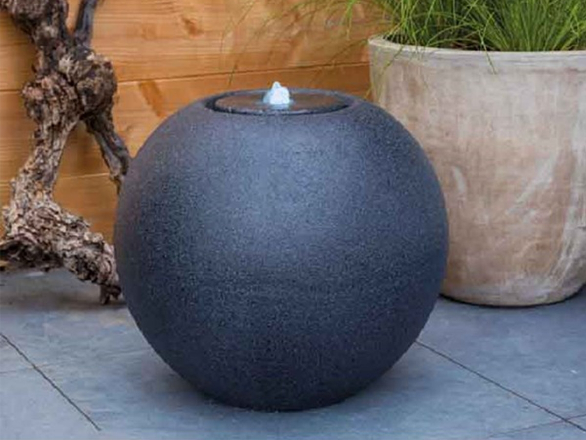 Fontaine extrieure boule effet granit avec LED  Jardideco