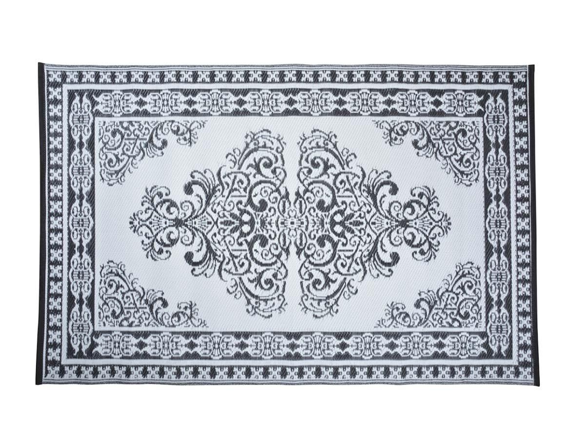 tapis d exterieur rectangulaire reversible motif perse noir blanc 186 x 119 cm