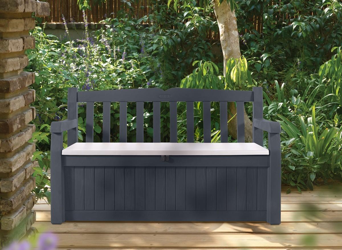 Banc de jardin avec coffre rangement Gris Anthracite  Jardideco