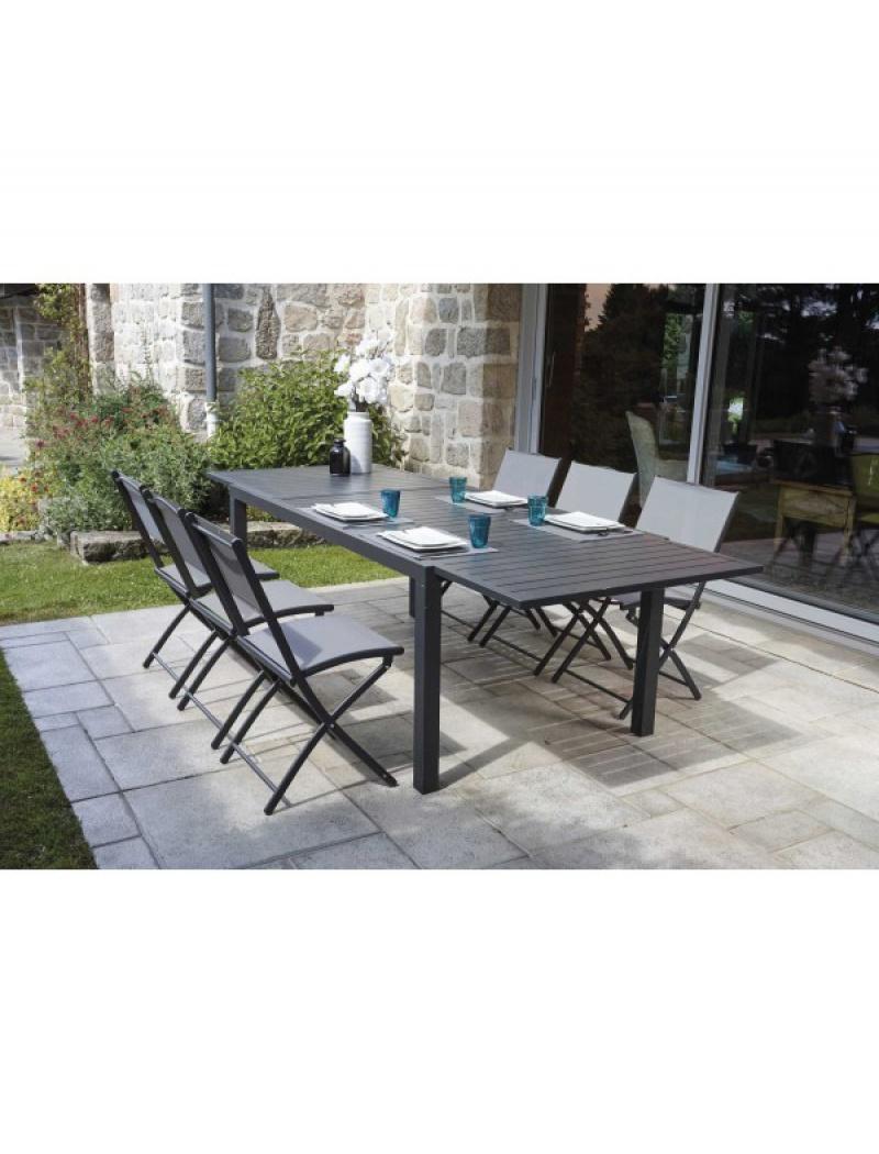 table de jardin extensible guethary 6 chaises pliantes