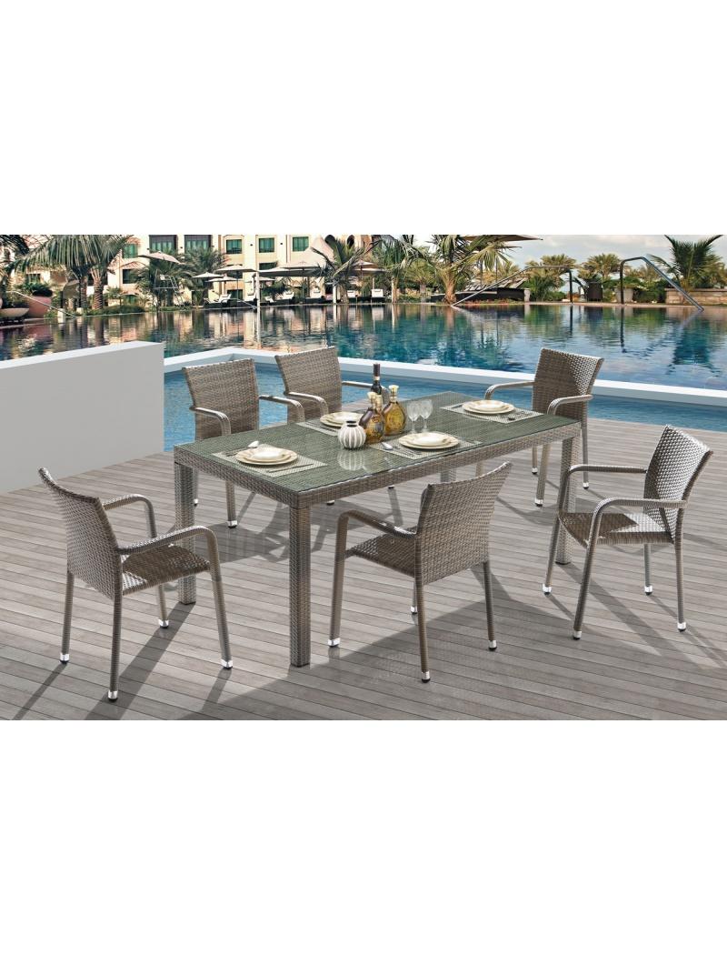 Table de jardin Noumea Gris Bleu  6 fauteuils Ozalide  Tables en rsine tresse  Jardin Concept