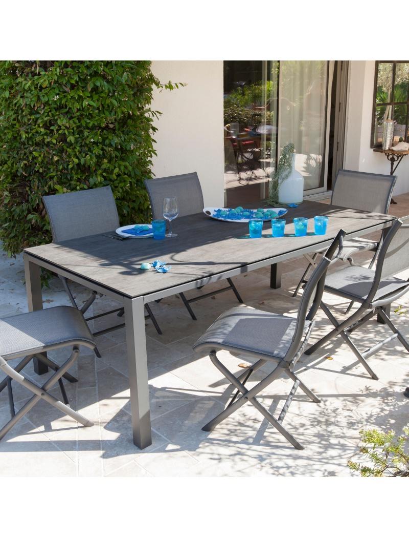 table stoneo 180 plateau trespa gris bois