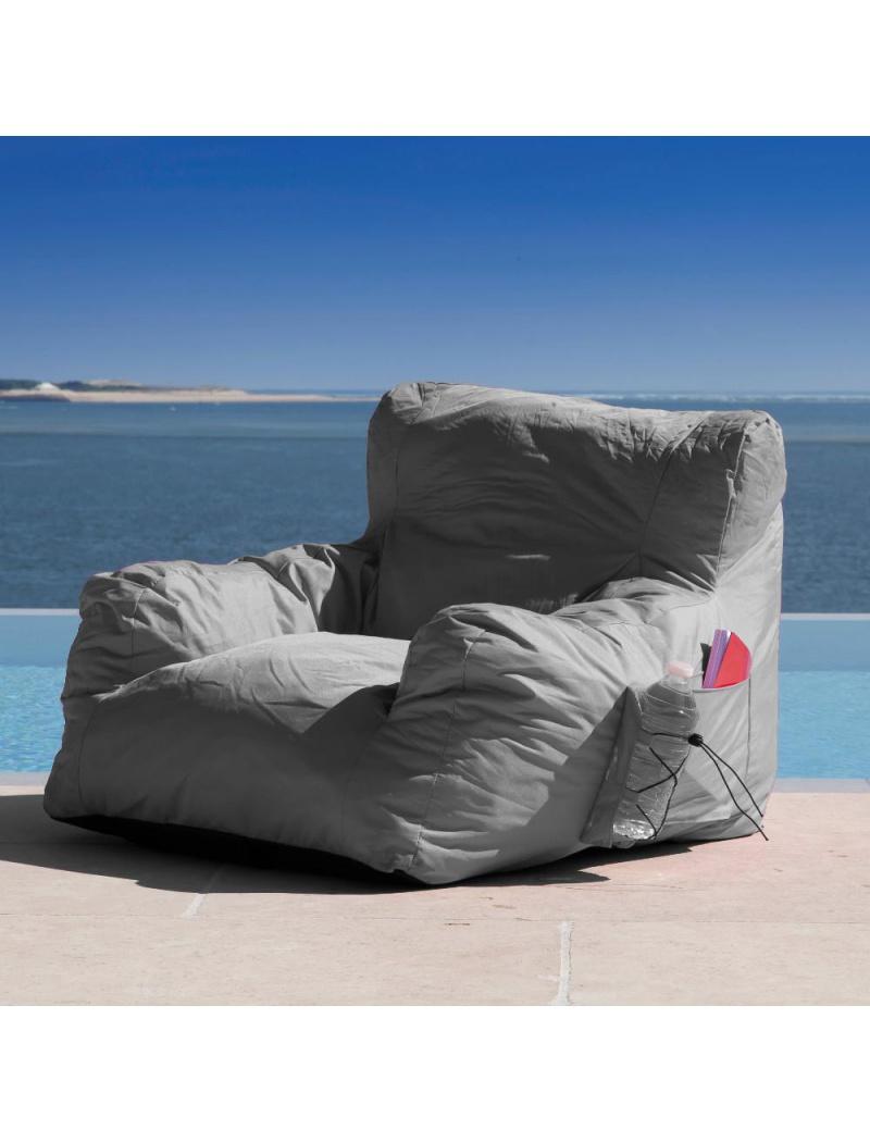 fauteuil pouf malibu gris