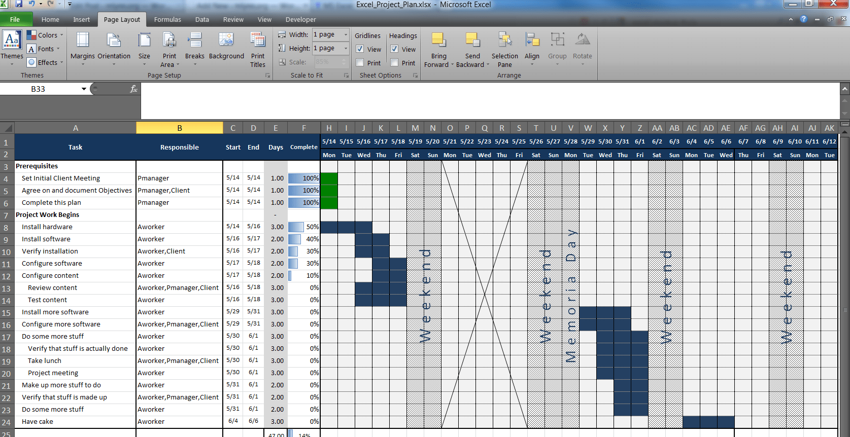Project Plan Template For Excel Printable Schedule Template