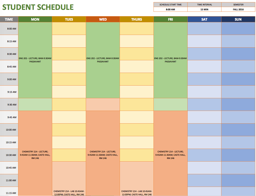 Schedule A Template Printable Schedule Template
