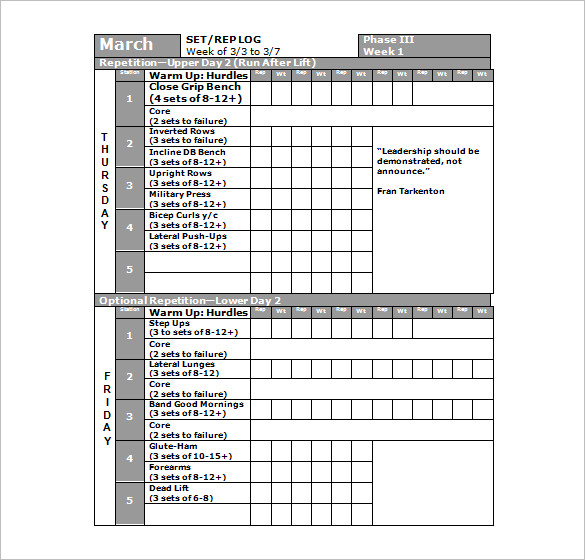 Workout Schedule Template Excel