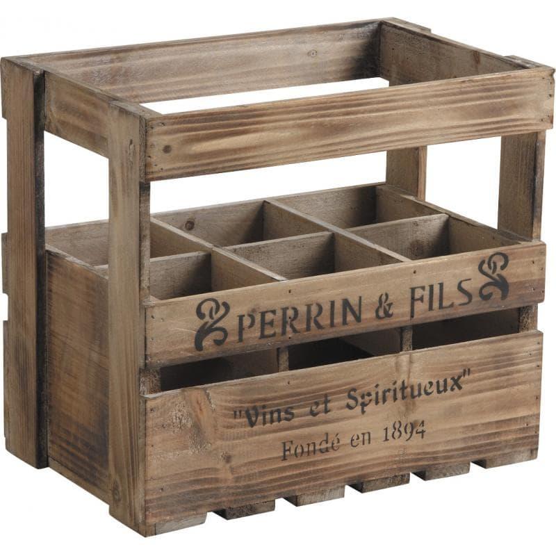 caisse en bois vieilli 6 bouteilles perrin et fils
