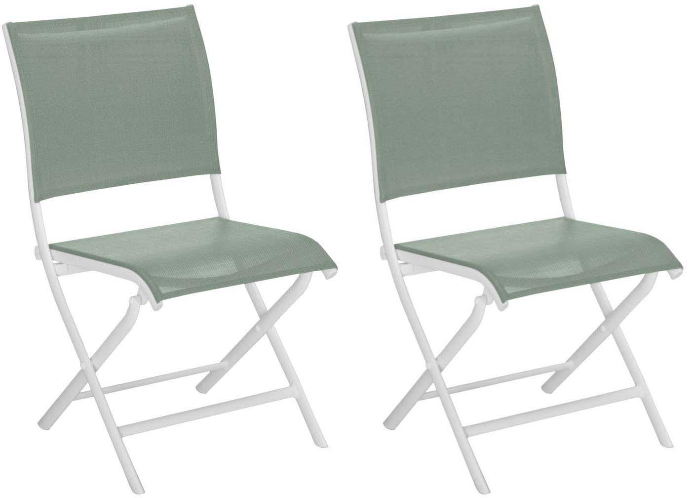chaises pliante jardin en aluminium elegance lot de 2 blanc et amande